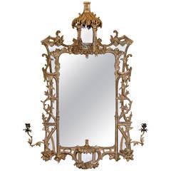 Chippendale Period Giltwood Girandole Pier Mirror