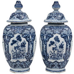 Pair of Dutch Delft Vases, circa 1850