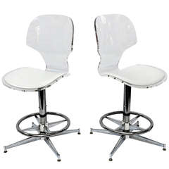 Pair of 1970's Sculptural lucite and Chrome Bar Stools chairs
