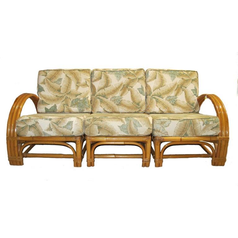 1950s Bamboo Upholstered Sofa Set At 1stdibs
