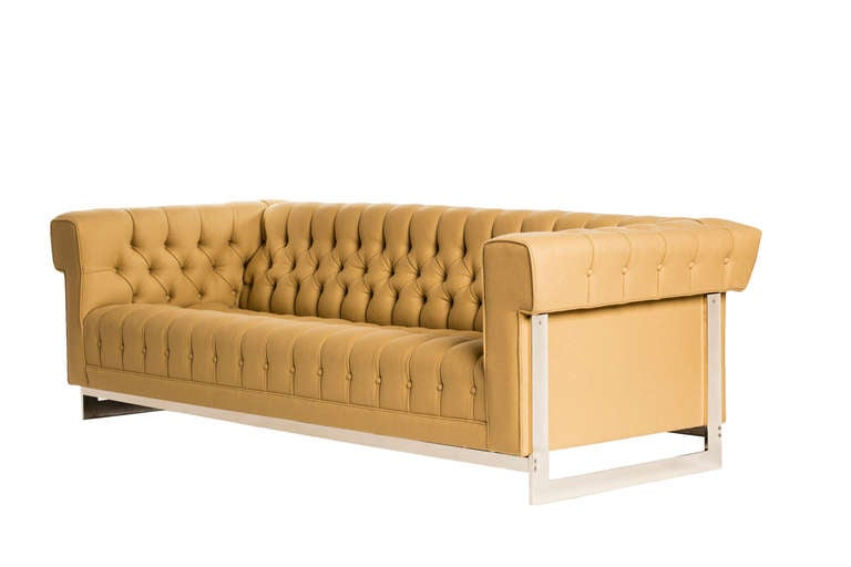 Stately Modern Chesterfield Sofa with Chrome Frame at 1stdibs