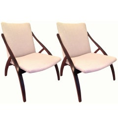Graceful Pair of Danish Lounge Chairs