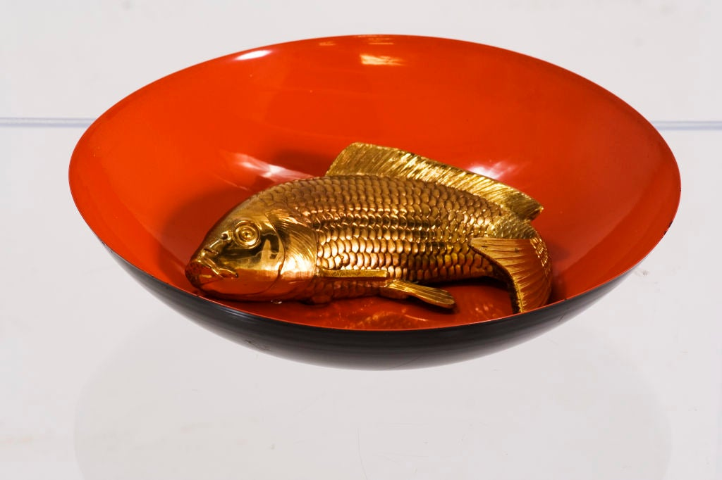 Lacquered orange fish bowl at 1stdibs for Legal fish bowl