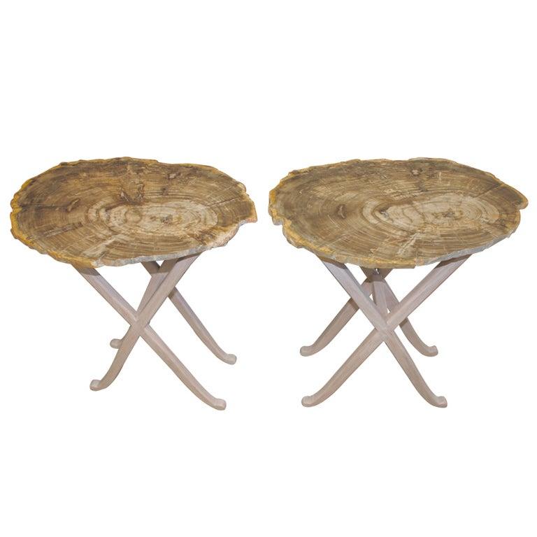American Craftsman Made Petrified Wood Tables At 1stdibs
