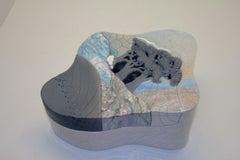 Bill Herb Dimensional Raku Pottery Box Visually Stunning