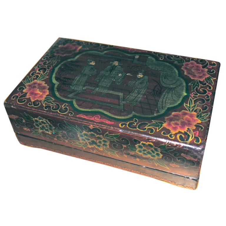 Decorative Boxes And Trays : Lacquered chinese covered box with trays at stdibs