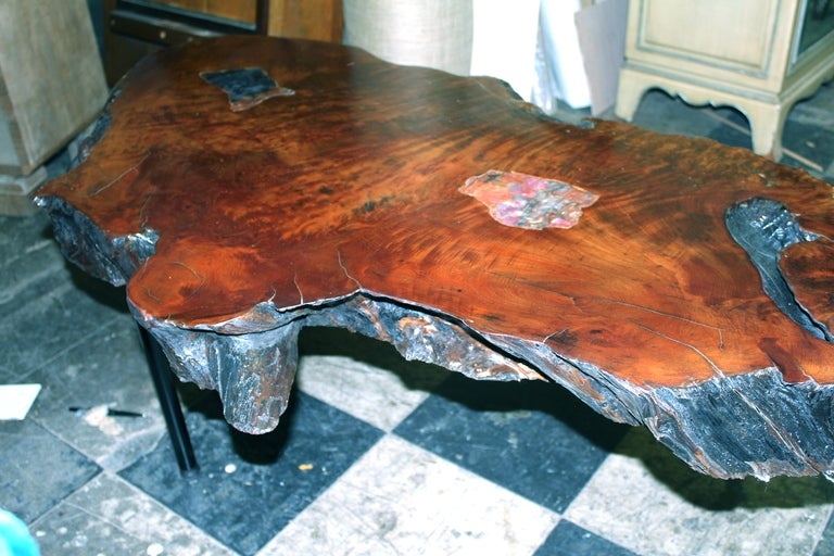 Beautiful Redwood Coffee Table With Inlaid Petrified Wood At 1stdibs