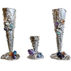 Metal Vases with Semi-Precious Stones