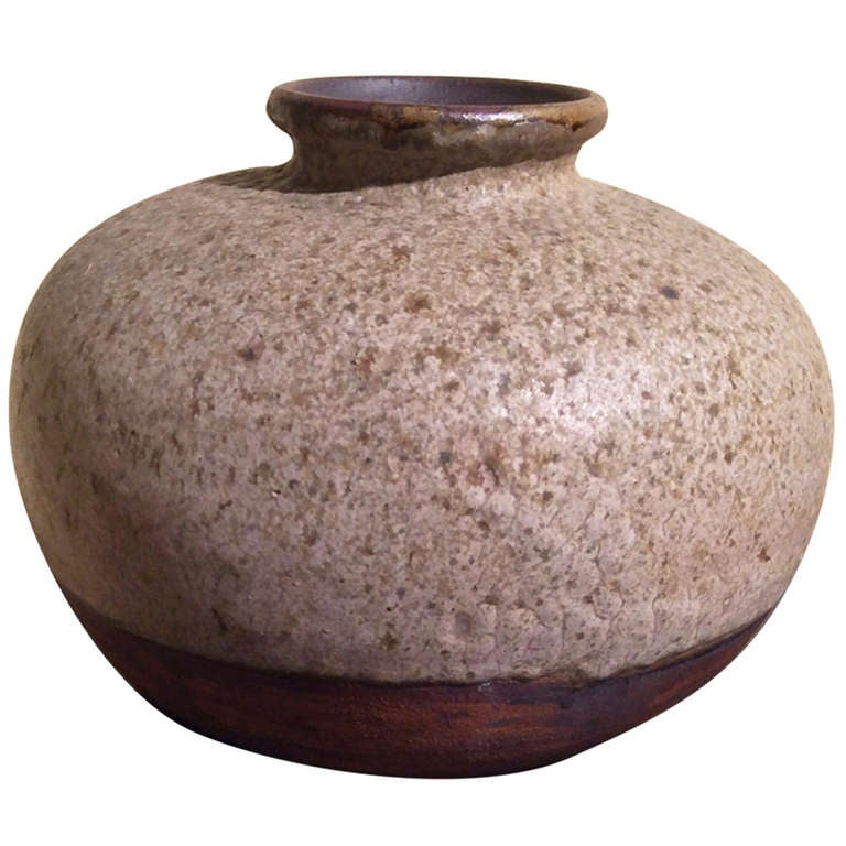 Beautiful Textured and Glazed Pottery Vase Monogrammed GP For Sale