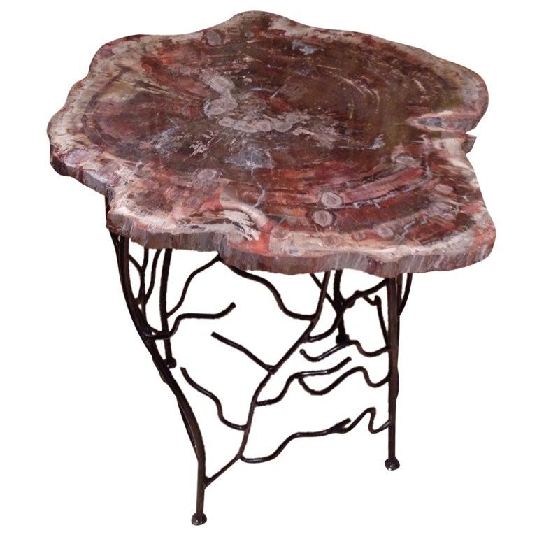 Arizona Petrified Wood Table Artisan Made Base At 1stdibs