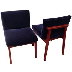 Pair of Padauk Chairs Re-Done in Wool Mohair
