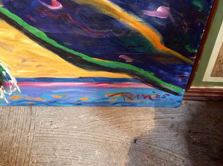 20th Century Reva Signed Painting, 1985 For Sale