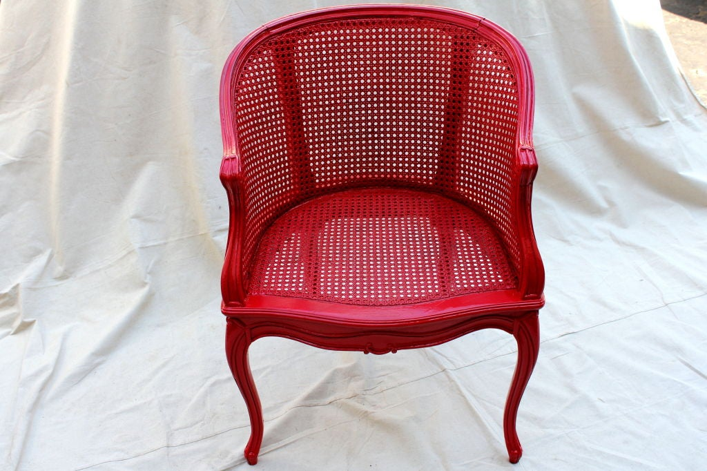 20th Century French Painted Red Cane Chair For Sale