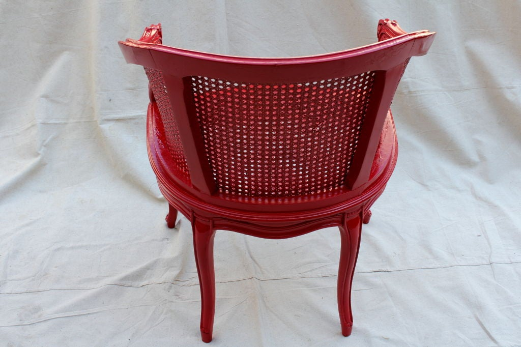 Wood French Painted Red Cane Chair For Sale