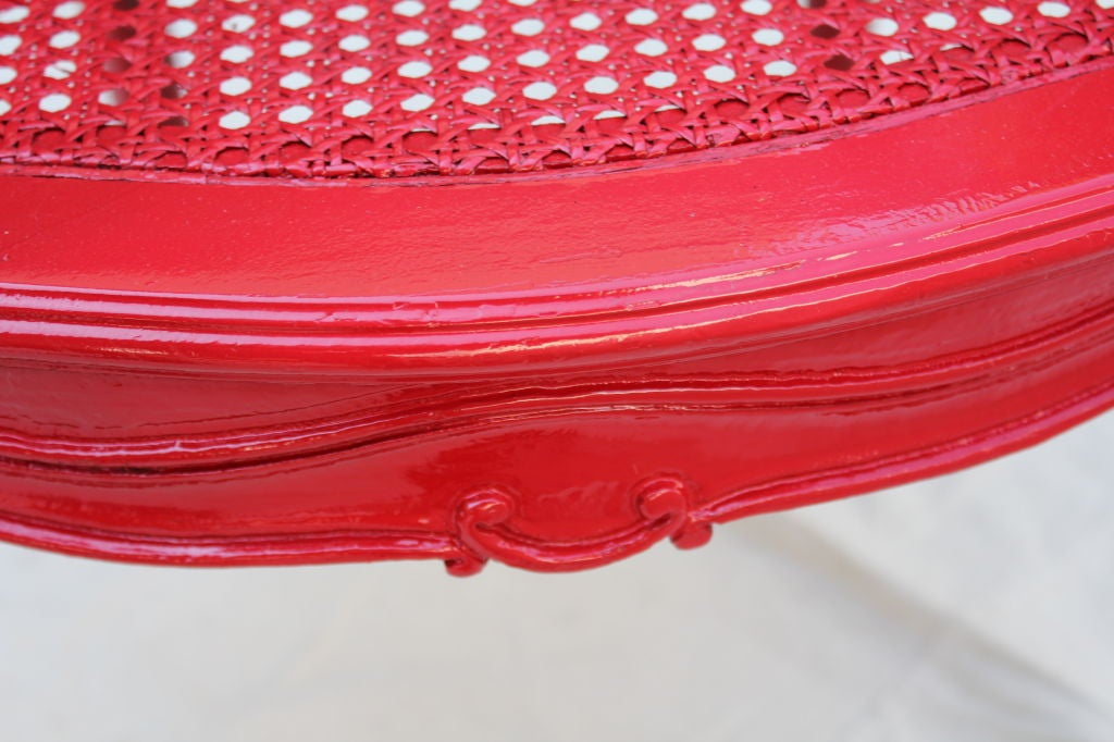 French Painted Red Cane Chair For Sale 4