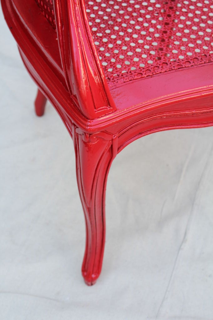 French Painted Red Cane Chair For Sale 5