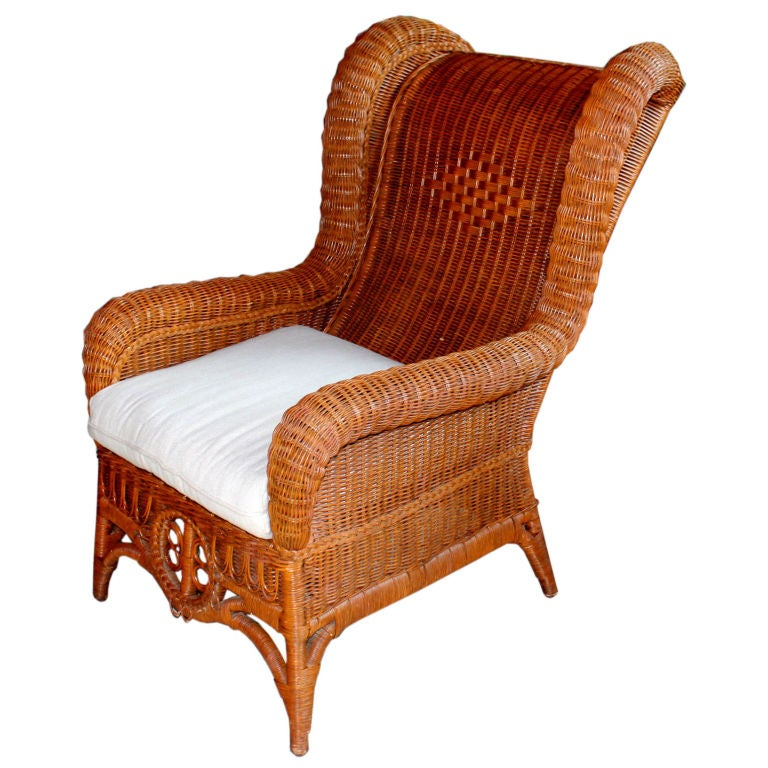 Incroyable 1980u0027s Ralph Lauren Polo Line Oversized Wicker Chair For Sale