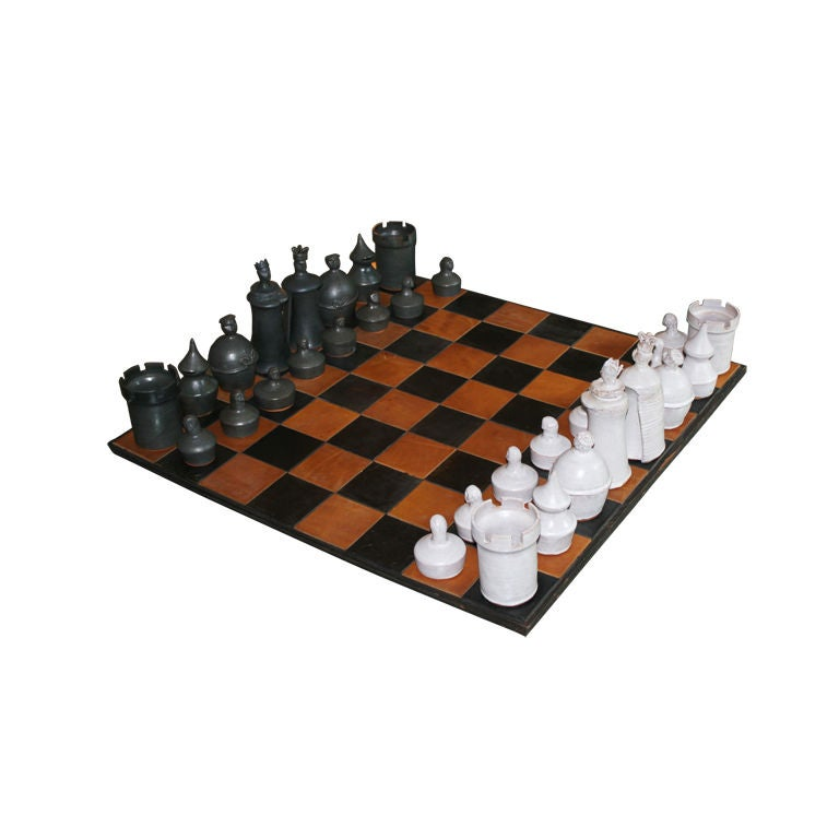 Unique Hand Thrown Art Pottery Chess Set Custom Leather