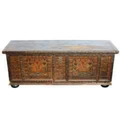 Very Early Hand Painted Antique Chest on Bun Feet Original Lock
