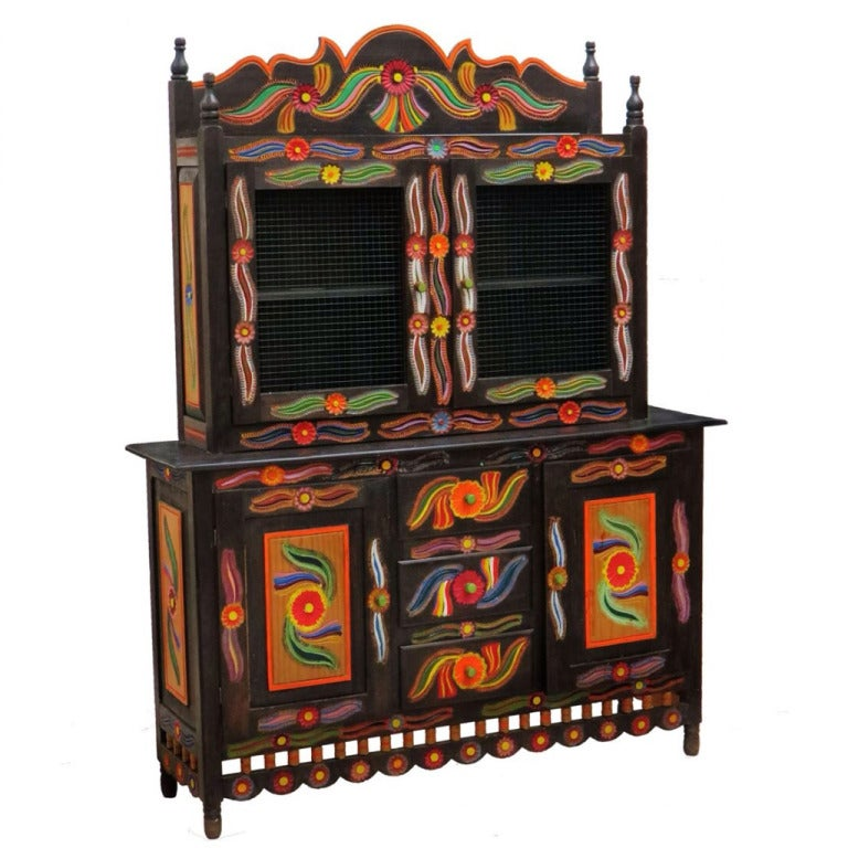 Folk Art Hand Painted Cabinet For