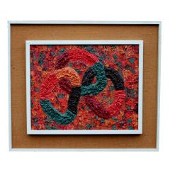 Abstract heavy impasto palette work painting signed dated 1968