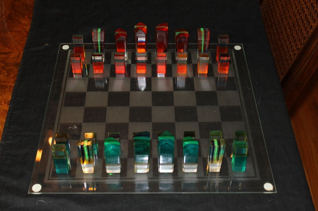 1960 S Vintage Colored Acrylic Chess Set New Glass Board