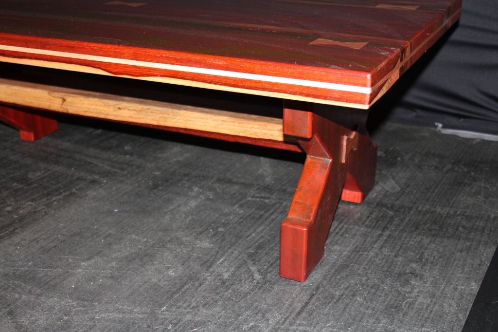 20th Century American Craftsman's Table of Exotic Woods with Great Form For Sale