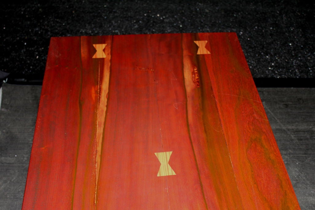 American Craftsman's Table of Exotic Woods with Great Form For Sale 1