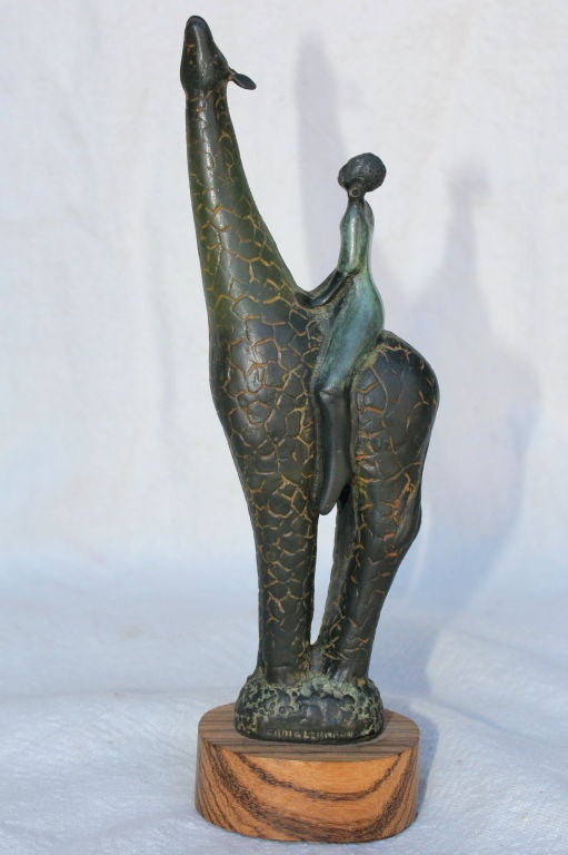 American Bronze by Colorado Artist Craig Lehmann Giraffe with African Rider For Sale