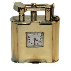 Rare Art Deco Dunhill 14k gold  swing arm lighter watch front