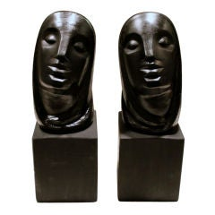 Great pair of Cubist plaster busts by reknown artist Rima