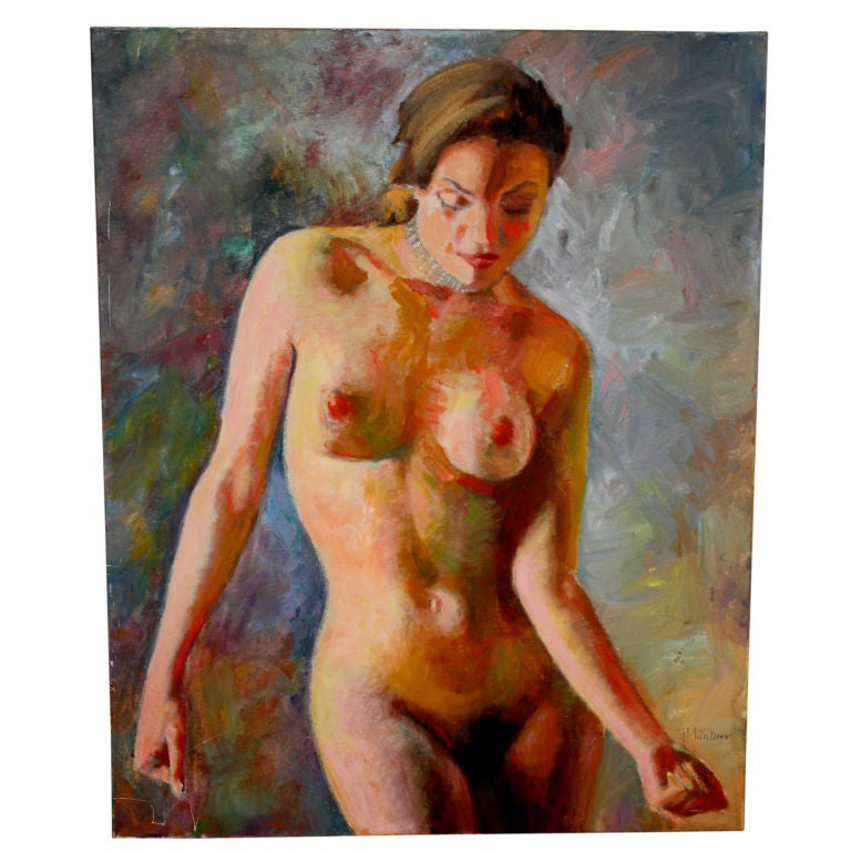Nice Nude Oil on Canvas Signed Mautner 1