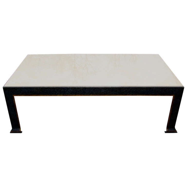 formations Iron and Travertine Coffee Table