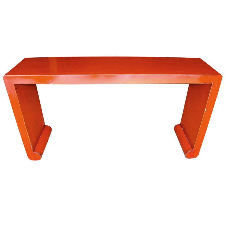 Asian Red Lacquer Console Table 1