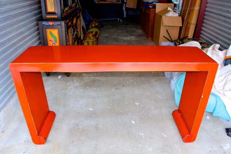 Asian Red Lacquer Console Table at 1stdibs