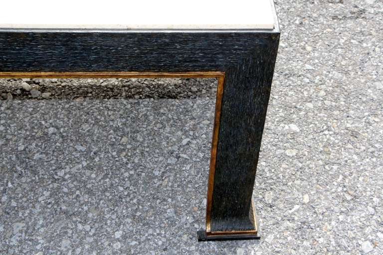 American formations Iron and Travertine Coffee Table