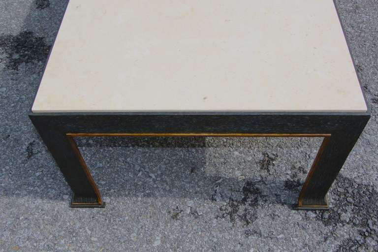 formations Iron and Travertine Coffee Table In Good Condition In Palm Springs, CA