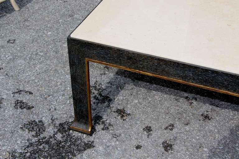 20th Century formations Iron and Travertine Coffee Table