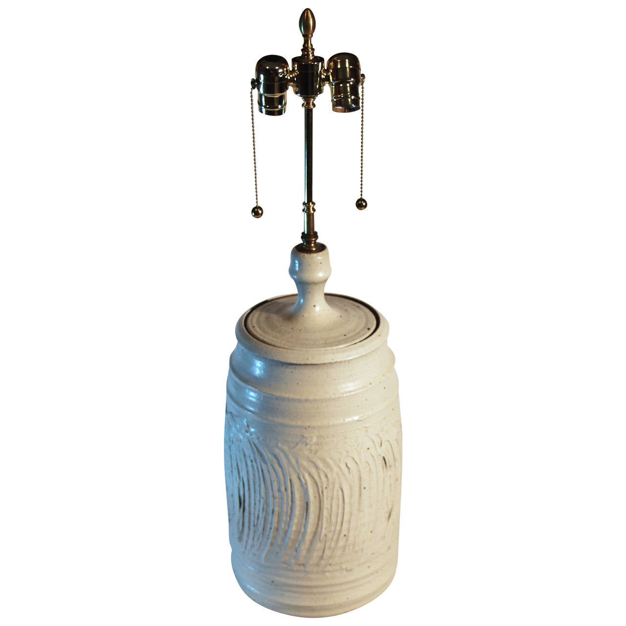Large Impressive 1960s Pottery Lamp For Sale