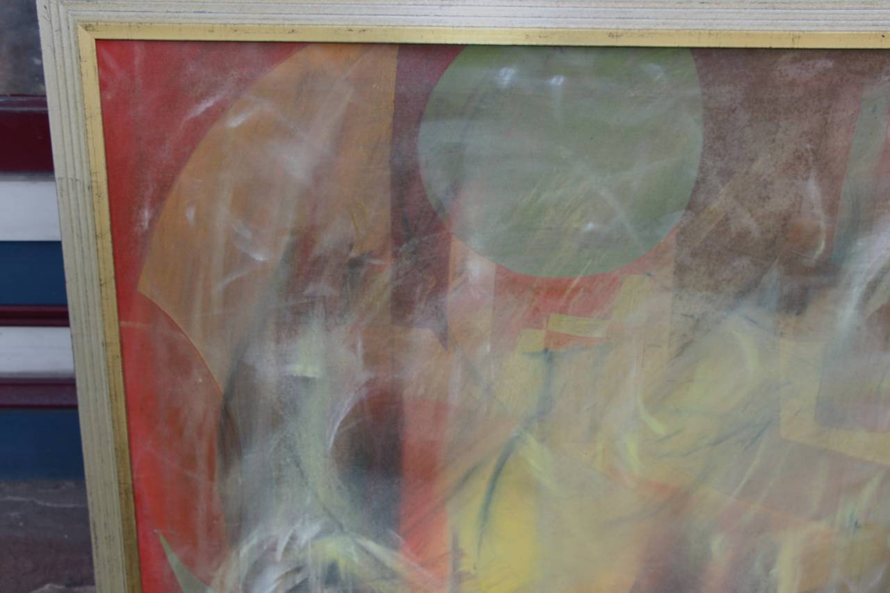 A great looking abstract acrylic on canvas in a new elegant frame. Not signed but nevertheless a beautiful painting.