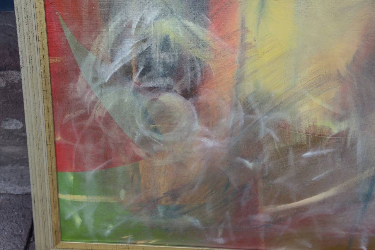 20th Century Abstract on Canvas in New Frame For Sale
