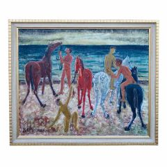 Great oil nude men on a beach with horses by H.R. Portmann 1961