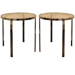 Nice pair of Pace Collection round tables with new glass