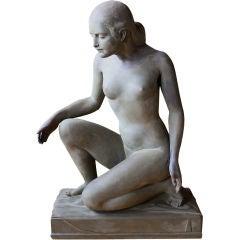 Wonderful WPA plaster kneeling nude woman estate of Paul Rudin