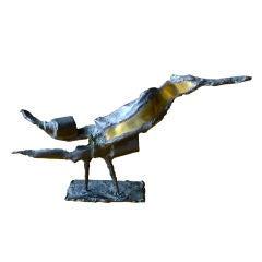 Silas Seandel brutalist mixed metal bird sculpture