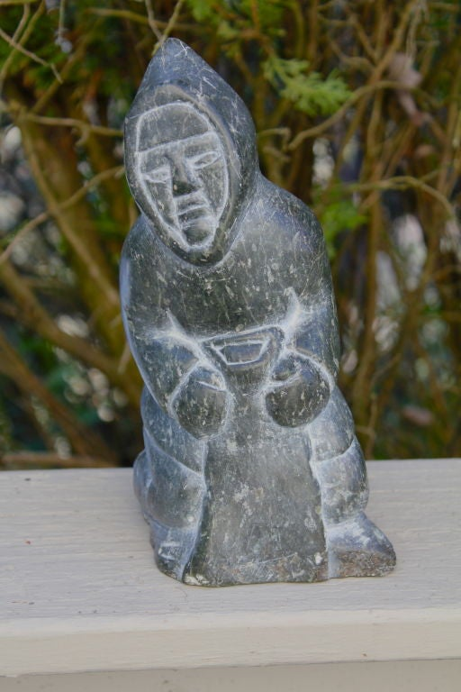 1970 S Inuit Eskimo Soapstone Carving Of A Native American