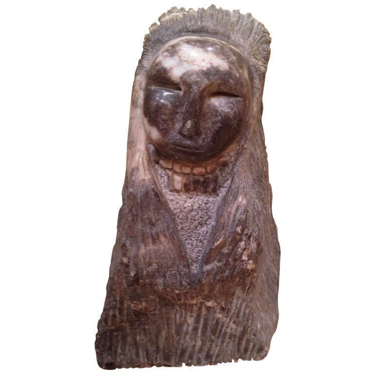 Fabulous native american hard stone carved sculpture at