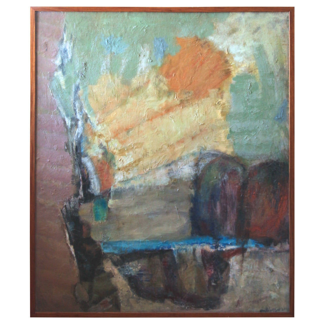 New Jersey Home Painting From J S Painting: 1960s Abstract Painting By Noted Artist Maurice Abramson