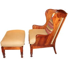 Hand crafted wing back chair and ottoman