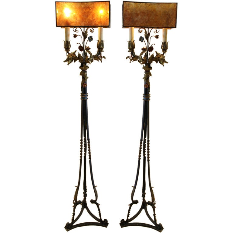 pr of arts and crafts painted iron torchieres with mica. Black Bedroom Furniture Sets. Home Design Ideas